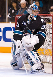 January 28, 2010; San Jose, CA, USA; San Jose Sharks goalie Evgeni Nabokov (20) before the game against the Chicago Blackhawks at HP Pavilion. Chicago defeated San Jose 4-3 in overtime. Mandatory Credit: Jason O. Watson / US PRESSWIRE
