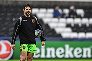 Northampton Saints' Ben Foden during the pre match warm up<br /> <br /> Photographer Craig Thomas/Replay Images<br /> <br /> EPCR Champions Cup Round 4 - Ospreys v Northampton Saints - Sunday 17th December 2017 - Parc y Scarlets - Llanelli<br /> <br /> World Copyright &copy; 2017 Replay Images. All rights reserved. info@replayimages.co.uk - www.replayimages.co.uk