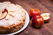 "International Cuisine - Desserts - Cake with ""ricotta"" cheese and sour apples."
