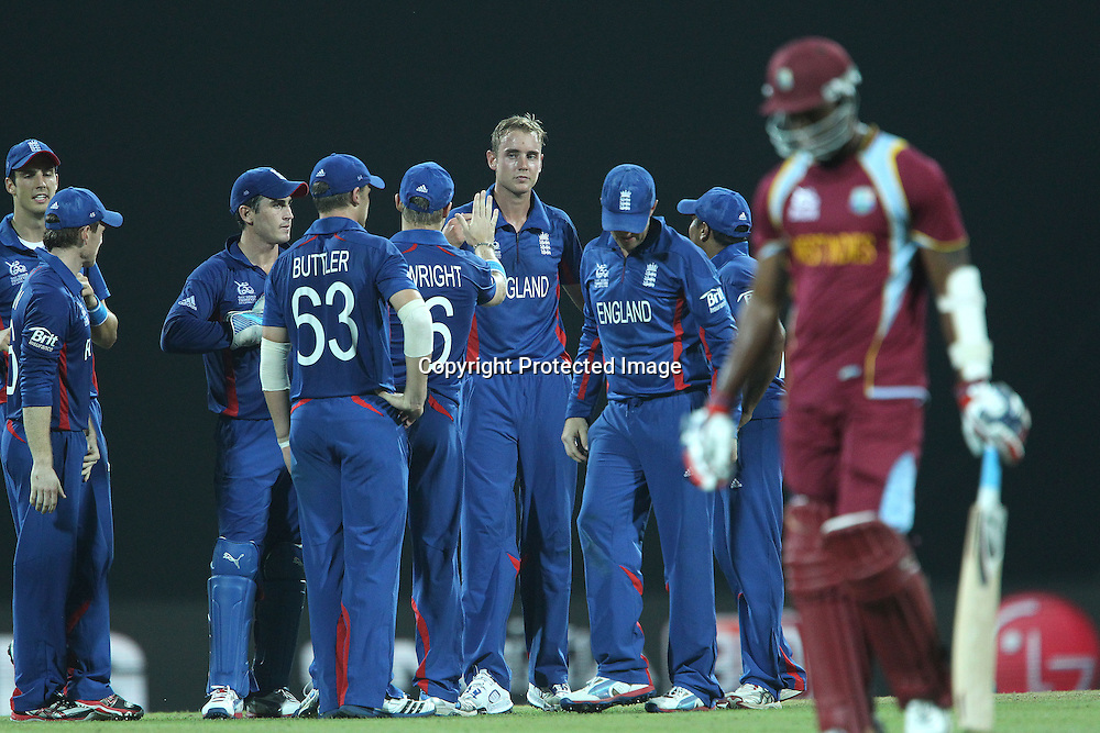 Stuart Broad celebrates the wicket of Marlon Samuels of The West Indies during the ICC World Twenty20 Super 8s match between England and The West Indies held at the  Pallekele Stadium in Kandy, Sri Lanka on the 27th September 2012<br /> <br /> Photo by Ron Gaunt/SPORTZPICS