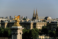 France. Paris. 7th district elevated view.  sainte Clotilde church  and Alexandre III brige gold statue view from  the  grand palais