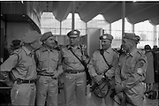 10/04/1963<br /> 04/10/1963<br /> 10 April 1963<br /> Advance party of the 39th Battalion leaves for the Congo from Dublin Airport. Picture shows (l-r): Comdt. D. O'Riain, (Cork); Capt. J. Devereux, (Waterford); Comdt. J. Connole, (Ennistymon); Comdt. E. Young, (Dunmanway) and Comdt. P. Cahalane, ( Courtmacsherry), O/C 3rd Armoured Squadron.