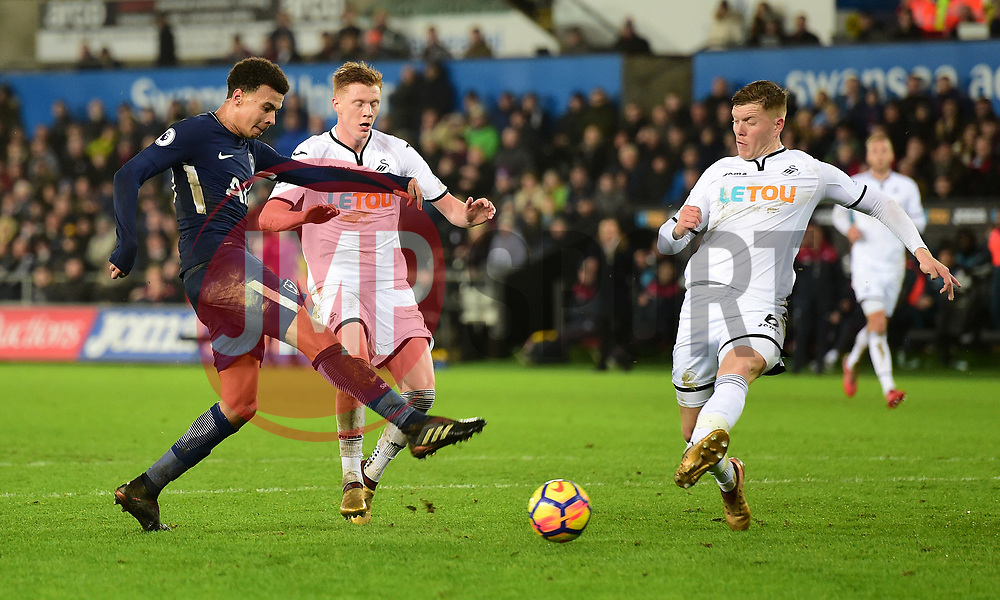 Dele Alli of Tottenham Hotspur initial shot which leads to him scoring after.  - Mandatory by-line: Alex James/JMP - 02/01/2018 - FOOTBALL - Liberty Stadium - Swansea, England - Swansea City v Tottenham Hotspur - Premier League