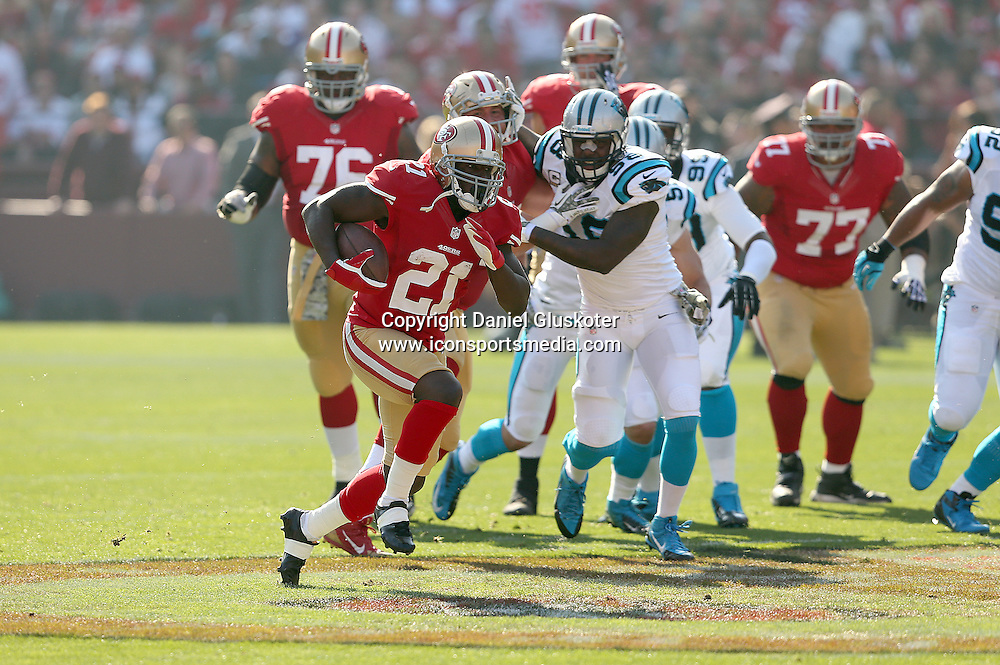 10 November 2013: 49ers running back Frank Gore during action in an NFL game against Carolina at Candlestick Park in San Francisco, CA. The Panthers won 10-9.