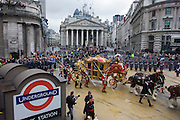 The Lord Mayor's carriage parades through Cornhill during the Lord Mayor's Show in the City of London. Alderman and Rt Hon The Lord Mayor of London, Roger Gifford, a merchant banker with Swedish bank SEB is the 685th in the City of London's ancient history. The new Mayor's procession consists of a 3-mile, 150-float parade of commercial and military organisations going back to medieval times. This is the oldest and longest civic procession in the world that has survived the Plague and the Blitz, today one of the best-loved pageants. Henry Fitz-Ailwyn was the first Lord Mayor (1189-1212) and ever since, eminent city fathers (and one woman) have taken the role of the sovereign's representative in the City - London's ancient, self-governing financial district. The role ensured the King had an ally within the prosperous enclave. .