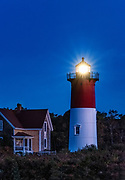 Nauset Lighthouse at night, Cape Cod National Seashore, Eastham, Cape Cod, Massachusetts, USA.