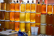 Jars of honey for sale at the Belgrade Food Market