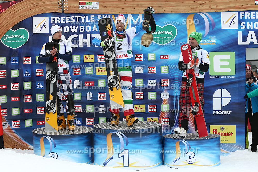 22.01.2015, WM Piste, Kreischberg, AUT, FIS Weltmeisterschaft Snowboard und Freestyle, Kreischberg, im Bild Weltmeister Roland Fischnaller (ITA), 2. Platz Andrey Sobolev (RUS), 3. Platz Rok Marguc (SLO) // during the FIS World Championships of Snowboard and Freestyle at the WM Piste in Kreischberg, Austria on 2015/01/22. EXPA Pictures &copy; 2015, PhotoCredit: EXPA/ Eibner-Pressefoto/ Roskaritz<br /> <br /> *****ATTENTION - OUT of GER*****