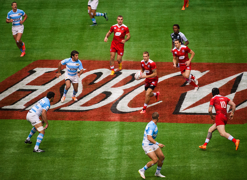 Russia play Argentina during the knockout stages of the 2016 Canada Sevens leg of the HSBC Sevens World Series Series at BC Place in  Vancouver, British Columbia. Sunday March 13, 2016.<br /> <br /> Jack Megaw<br /> <br /> www.jackmegaw.com<br /> <br /> 610.764.3094<br /> jack@jackmegaw.com