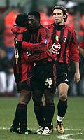 Milano 12-12-2004<br /> <br /> Campionato di calcio Serie A 2004-05<br /> <br /> Milan Fiorentina<br /> <br /> nella  foto Seedorf esulta dopo il suo secondo gol con Dorashoo e Shevchenko<br /> <br /> Clarence Seedorf celebrates his second goal with Dhorasoo (L) and Andriy Shevchenko (R) <br /> <br /> Foto Snapshot / Graffiti