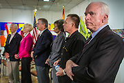 23 AUGUST 2012 - PEORIA, AZ: Senator JOHN McCAIN (R-AZ) waits to speak at a press conference in Peoria, AZ. Sen. McCain held a town hall in Peoria, AZ, a suburb of Phoenix, to talk about the impact that sequestration would have on the Arizona economy and the Department of Defense. McCain said sequestration would immediately cost Arizona more than 35,000 defence related jobs and decimate the armed forces. Sequestration would result in about $1.2 trillion being cut from the federal budget. Sequestration, and automatic budget cuts, is scheduled to go into effect on Jan 1, 2013, if the President and Congress can't agree on budget.      PHOTO BY JACK KURTZ