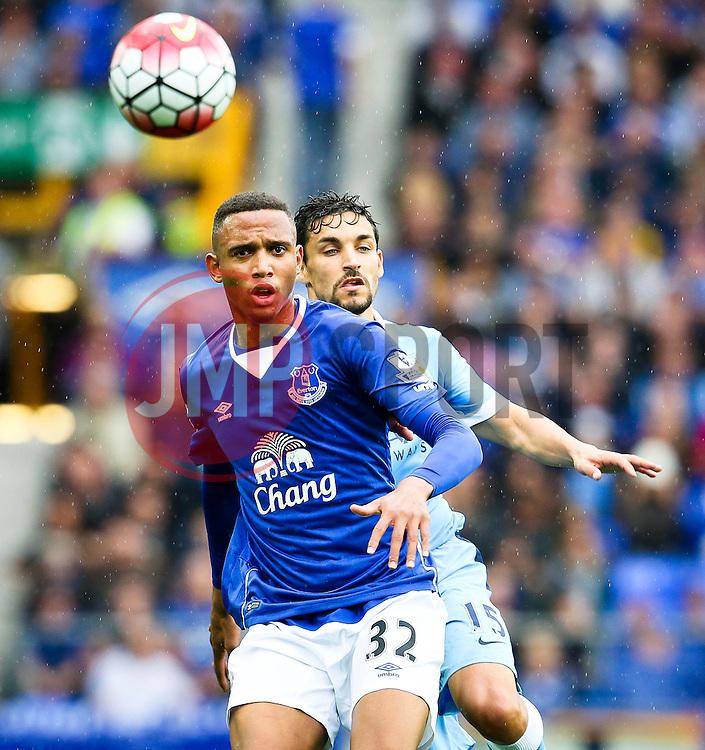 Everton's Brendan Galloway is chased by Jesus Navas of Manchester City  - Mandatory byline: Matt McNulty/JMP - 07966386802 - 23/08/2015 - FOOTBALL - Goodison Park -Everton,England - Everton v Manchester City - Barclays Premier League