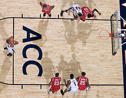 Virginia's J.R. Reynolds shoots a free through against Maryland.  The Cavaliers defeated the #22 ranked Terrapins 103-91 at the John Paul Jones Arena in Charlottesville, VA on January 16, 2007.