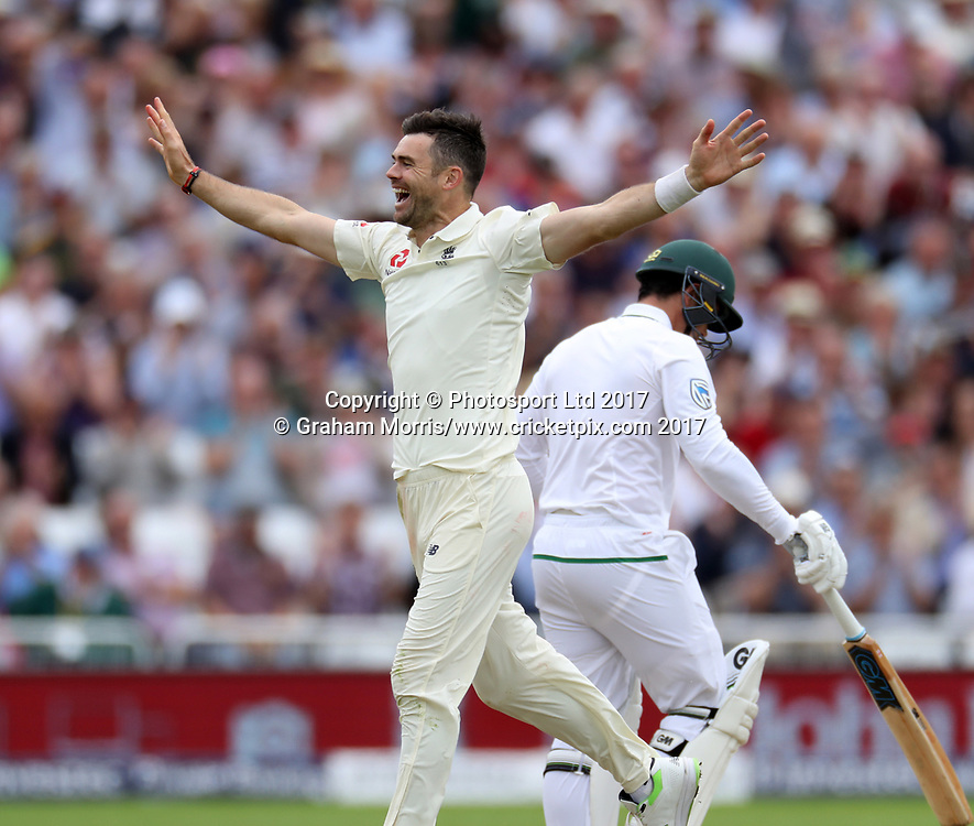 Bowler James Anderson celebrates removing Quinton de Kock during the 2nd Investec Test Match between England and South Africa at Trent Bridge, Nottingham. Photo: Graham Morris/www.cricketpix.com / www.photosport.nz
