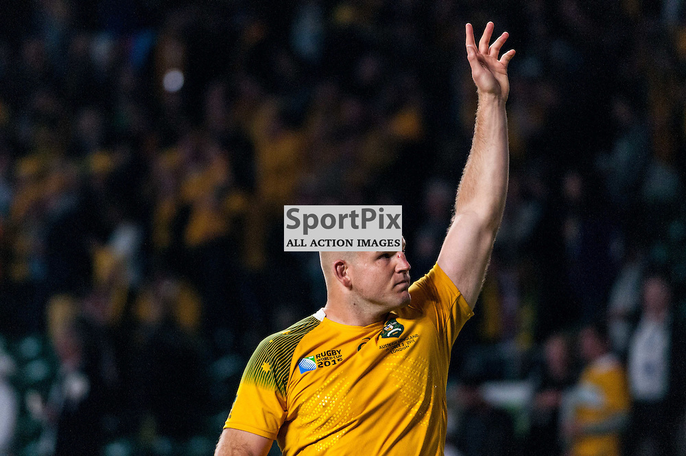 Stephen Moore captain of Australia waves to celebrating Aussie fans. Action from the England v Australia game in Pool A of the 2015 Rugby World Cup at Twickenham in London, 3 October 2015. (c) Paul J Roberts / Sportpix.org.uk