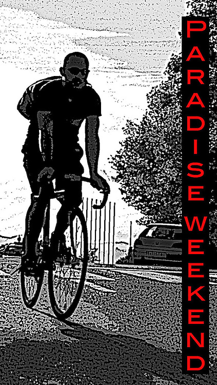 Photo and design of a sticker for the an anual Alley Cat bike mesenger races called Paradise Weekend held in Barcelona in October 2006.