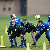 St Johnstone Training...23.01.04<br />The ex old firm contingent at McDiarmid Park compete in a heading competition during training before tomorrow's game v Raith, they are from left, Peter MacDonald, Simon Donnelly, Brian McLaughlin, Chris Hay, Rudi Vata and Jamie McQuilken.<br />see story by Gordon Bannerman Tel: 01738 553978<br />Picture by Graeme Hart.<br />Copyright Perthshire Picture Agency<br />Tel: 01738 623350  Mobile: 07990 594431