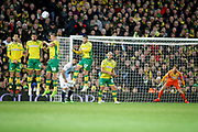 The Norwich wall stands firm after this free kick go's over the bar over the bar during the EFL Sky Bet Championship match between Norwich City and Blackburn Rovers at Carrow Road, Norwich, England on 27 April 2019.