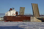Tregurtha leaving Sturgeon Bay for the summer shipping season. The largest boat on the Great Lakes at 1012.5 feet.