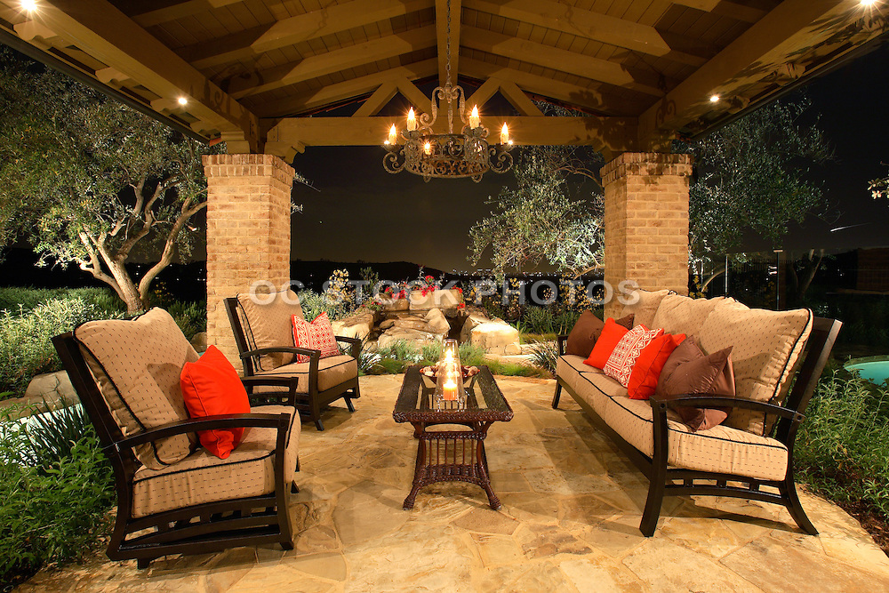 Custom Built Outdoor Living Patio with Lighting and Furniture