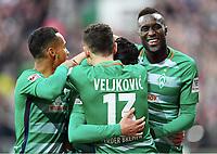 2:0 Jubel v.l. Theodor Gebre Selassie, Milos Veljkovic, Torschuetze Florian Grillitsch, Lamine Sane (Bremen)<br /> Bremen, 18.03.2017, Fussball, Bundesliga, SV Werder Bremen - RB Leipzig 3:0<br /> <br /> Norway only