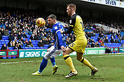 Ipswich Town striker Joe Garner (14) and Burton Albion defender Tom Naylor (15) compete for the ball during the EFL Sky Bet Championship match between Ipswich Town and Burton Albion at Portman Road, Ipswich, England on 10 February 2018. Picture by Richard Holmes.