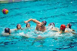 21-01-2012 WATERPOLO: EC NETHERLANDS - TURKEY: EINDHOVEN<br /> European Championships Netherlands - Turkey / (L-R) Roeland Spijker, Tjerk Kramer, Luuk Gielen, Matthijs de Bruijn (Middle, throws the ball)<br /> (c)2012-FotoHoogendoorn.nl / Peter Schalk