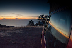 Window View from Volkwagen Eurovan, Plaskett Ridge, Los Padres National Forest, Big Sur, California, US