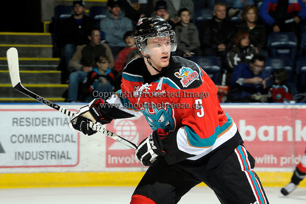 KELOWNA, CANADA, OCTOBER 26:  Mitchell Chapman #5 of the Kelowna Rockets skates on the ice as the Prince George Cougars visit the Kelowna Rockets  on October 26, 2011 at Prospera Place in Kelowna, British Columbia, Canada (Photo by Marissa Baecker/Shoot the Breeze) *** Local Caption *** Mitchell Chapman;