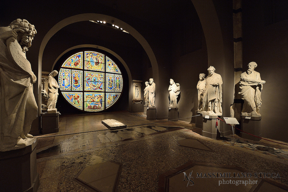 The Museo dell'Opera is famous overall for the extraordinary collection of marble sculptures executed by Giovanni Pisano in the late XIII century and for the large altarpiece with the Maestà (1308-1311) by Duccio di Buoninsegna. However, it also houses numerous masterpieces of painting of the Sienese school (Ambrogio and Pietro Lorenzetti, Sano di Pietro, Matteo di Giovanni and Domenico Beccafumi), as well as an important collection of valuable plate and textiles from the Cathedral. Climbing up the winding staircase of the unfinished façade of the Duomo Nuovo, visitors can admire the most fascinating panorama of the Tuscan countryside