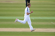 Brad Wheal of Hampshire celebrates the wicket of Dawid Malan of Middlesex during the Specsavers County Champ Div 1 match between Hampshire County Cricket Club and Middlesex County Cricket Club at the Ageas Bowl, Southampton, United Kingdom on 16 April 2017. Photo by David Vokes.