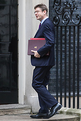 Downing Street, London, October 18th 2016. Secretary of State for Business, Energy and Industrial Strategy Greg Clark arrives at the weekly cabinet meeting at 10 Downing Street in London.