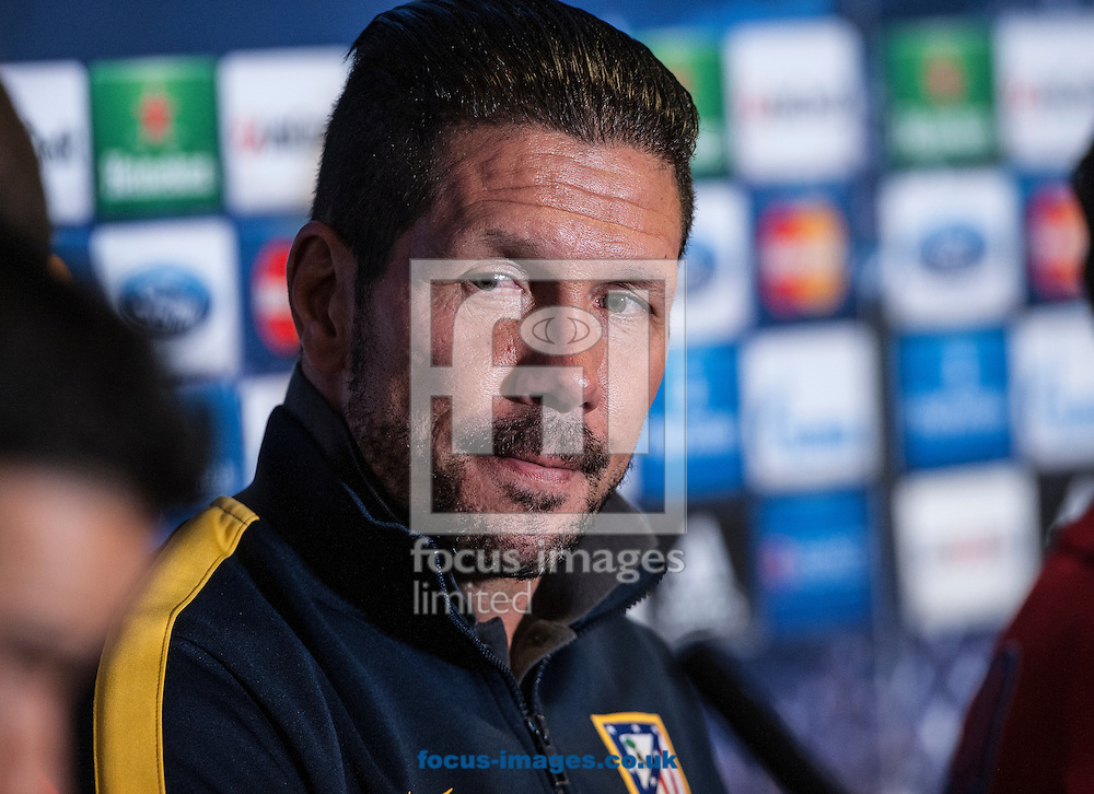 Diego Simeone of Atletico Madrid during a press conference at Stamford Bridge, London ahead of their UEFA Champions League semi final second leg against Chelsea.<br /> Picture by Daniel Hambury/Focus Images Ltd +44 7813 022858<br /> 29/04/2014