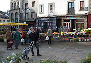 Rennes, FRANCE. General Views GV's. Rennes weekly regional market. Brittany,<br /> Vegetable's, Fruit, Flowers, Fish, Game, Meat, Cheese, local wine and cider, sold from stalls in the open and covered market  <br /> <br /> 08:51:47  Saturday  26/04/2014 <br /> <br />  [Mandatory Credit: Peter Spurrier/Intersport<br /> Images]