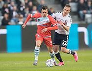 FODBOLD: Mikkel Basse (FC Helsingør) og Martin Pušić (AGF) under kampen i ALKA Superligaen mellem AGF og FC Helsingør den 13. april 2018 i Ceres Park. Foto: Claus Birch.