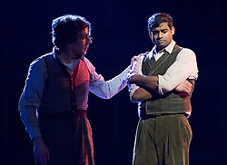 © London News Pictures. (L-R) Joshua Bloom as Colline & Sean Pannikar as Rodolfo perform in Puccini's tragic opera La Boheme at The Royal Albert Hall, London on February 26, 2014.   Photo credit: Arnaud Stephenson/LNP