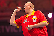 Andrew Gilding during the First Round of the BetVictor World Matchplay Darts at the Empress Ballroom, Blackpool, United Kingdom on 19 July 2015. Photo by Shane Healey.