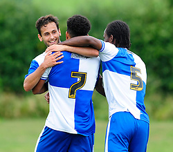 Carlos Gonzalez Barra celebrates with his team mates after scoring. - Photo mandatory by-line: Dougie Allward/JMP - Tel: Mobile: 07966 386802 17/08/2013 - SPORT - FOOTBALL - Bristol Rovers Training Ground - Friends Life Sports Ground - Bristol - Academy - Under 18s - Youth - Bristol Rovers U18s V Bournemouth U18s