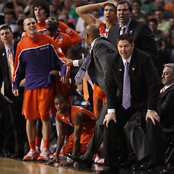 Mar 17, 2011; Tampa, FL, USA; Clemson Tigers head coach Brad Brownell and the bench reacts to a foul during the second half of the second round of the 2011 NCAA men's basketball tournament against the West Virginia Mountaineers at the St. Pete Times Forum. West Virginia defeated Clemson 84-76.  Mandatory Credit: Derick E. Hingle