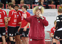 Volleyball  1. Bundesliga   2014/2015 TV Rottenburg 0-3 TV Ingersoll Buehl     07.02.2015 Fasnet beim TV Rottenburg; Hallensprecher Ingo Pufke als Cindy aus Marzahn