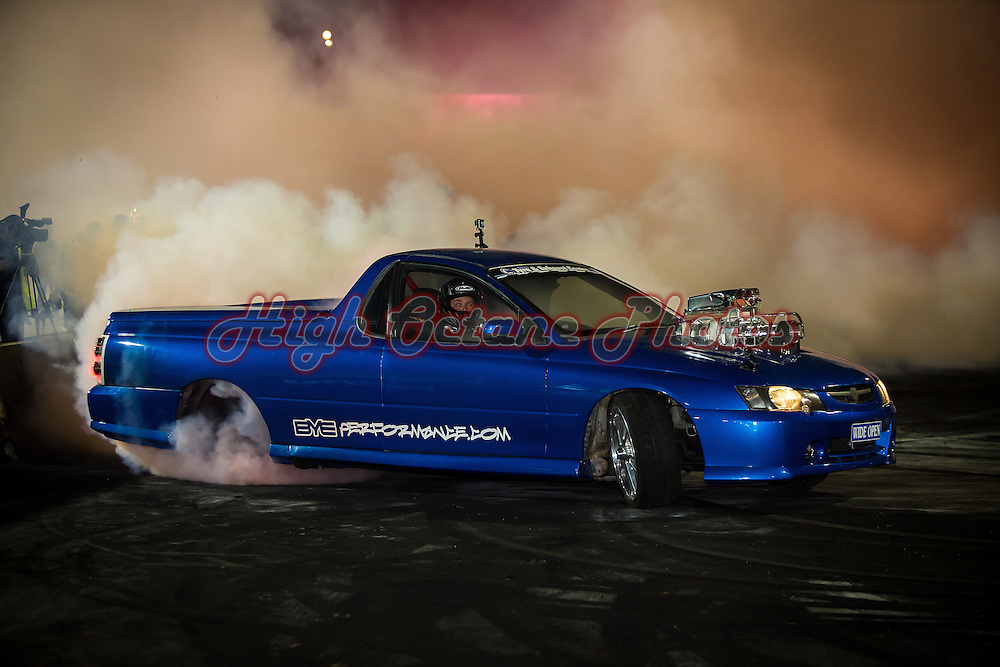 Mick Hamon in WIDE OPEN at the 2015 Epic Tyres Good Friday Burnout King at the Perth Motorplex.