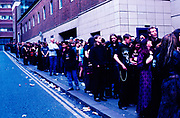 """Cradle Of Filth"" fans waiting in line for a show, UK 2000's"