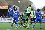 Scramble in the box during the EFL Sky Bet League 1 match between AFC Wimbledon and Plymouth Argyle at the Cherry Red Records Stadium, Kingston, England on 21 October 2017. Photo by Matthew Redman.