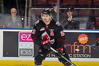 KELOWNA, BC - JANUARY 16:  Tristin Langan #23 of the Moose Jaw Warriors warms up against the Kelowna Rockets at Prospera Place on January 16, 2019 in Kelowna, Canada. (Photo by Marissa Baecker/Getty Images)