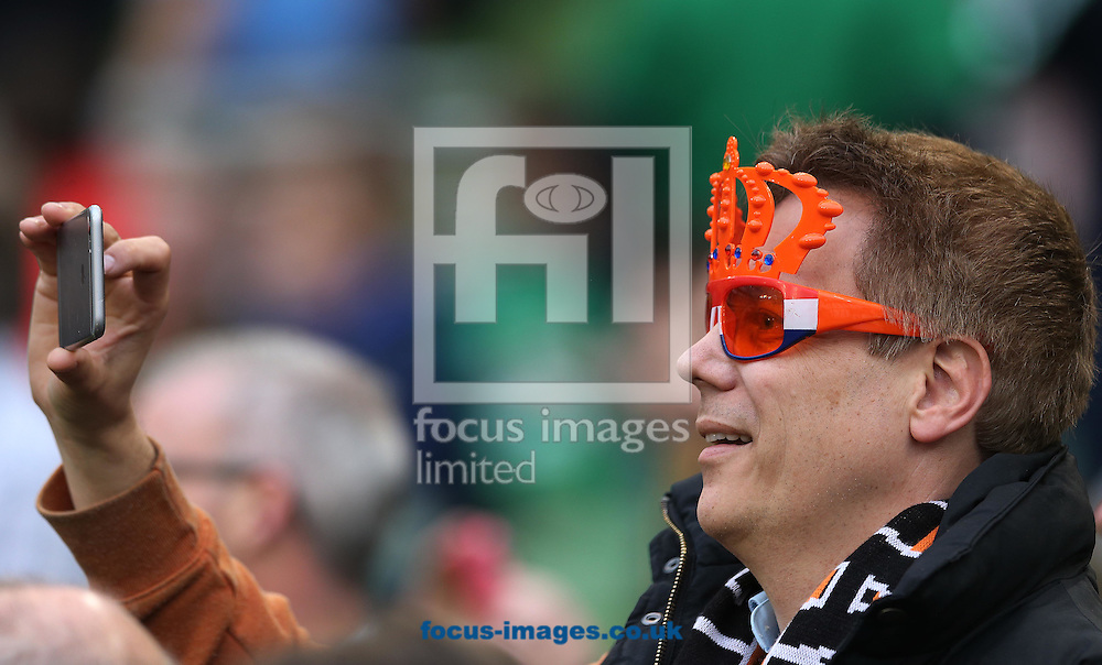 Dutch fans during the International Friendly match at the Aviva Stadium, Dublin<br /> Picture by Lorraine O'Sullivan/Focus Images Ltd +353 872341584<br /> 27/05/2016