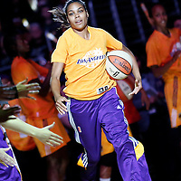 17 June 2014: Los Angeles Sparks guard Lindsey Harding (10) is seen during the players introduction prior to the Minnesota Lynx  94-77 victory over the Los Angeles Sparks, at the Staples Center, Los Angeles, California, USA.