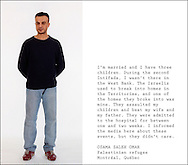 Palestinian refugee Osama Saleh Omar, photographed and interviewed in a studio at Concordia University. Montreal, 2005.