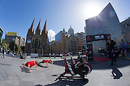 Fitness First Athletes, March 19, 2014 - Ironman Triathlon : Fitness First Athletes compete in the instant triathlon. Tougher Than An IRONMAN, Federation Square, Melbourne, Victoria, Australia. Credit: Lucas Wroe