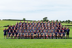 Bristol Rugby Squad Photo with players, academy and all club staff.<br /> <br /> Front row (L-R): Mike Hall (Academy Manager), Dwayne Peel (Backs Coach), Mark Bennett (Head of Conditioning), Jack Tovey, Gavin Henson, Rhodri Williams, Will Cliff, David Lemi, Andy Robinson (Director of Rugby), Jack Lam, Tusi Pisi, Mitch Eadie, Ben Mosses, Jordan Crane, Jon Thomas (Defence Coach), Mark Bakewell (Forwards Coach), Alan Martinovic (Head of Recruitment).<br /> <br /> Second row (L-R): Kris James (First Team Performance Analyst), Sean Marsden (Academy Backs Coach), Mark Tainton (Kicking consultant), Jemma Gardner (Medical Administrator), Elias Caven, Nick Carpenter, Gaston Cortes, Martin Roberts, James Newey, Max Crumpton, Jamal Ford-Robinson, Andy Uren, Callum Sheedy, Auguy Slowik, Jordan Williams, Nick Fenton-Wells, Tom Hargroves (First team S&C), Jonathan Harris-Wright (First team S&C), Chalky Meek (Kit Manager), Mark Irish (Academy Forwards Coach), Ben Cousins (Sports Scientist). Kim Cheffy (Physiotherapist intern).<br /> <br /> Third row (L-R): Dani Vicary (Sports rehabilitator), Sam Dodge (Academy S&C), Marc Jones, Anthony Perenise, Alec Clarey, Jack O'Connell, Ryan Edwards, Olly Robinson, James Hall, Kyle Traynor, Thretton Palamo, Charlie Amesbury, Billy Searle, Ollie Dawe, Jamie Eustace (Academy Performance Analyst), Sarah Gorvett (Rugby Administrator), Kim Cheffy (Physio intern).<br /> <br /> Fourth row (L-R): John Harrison (Team Manager), Rory Murray (Head of Medical Services), Eoin Power (First Team Physio), Chris Brooker, Tom Varndell, Nick Koster, Jack Wallace, Soane Tonga'uiha, Adrian Jarvis, Ryan Bevington, Gareth Maule, Will Hurrell, Luke Arscott, Jesse Bakewell (First Team S&C), David Howes (Academy Physio), George Van Klaveren (Academy S&C Coach).<br /> <br /> Fifth row (L-R): Stuart Powell (Head of Performance analysis), Mark Sorenson, BJ Edwards, Rayn Smid, Ross McMillan, Glen Townson, James Phillips, Ian Evans, Ben Glynn, John Hawkins, Joe Joyce, Jon Fisher, Sam Jeffries, Gary Townsend (Academy Development M