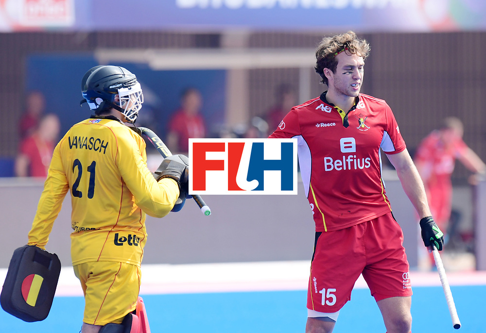 Odisha Men's Hockey World League Final Bhubaneswar 2017<br /> Match id:03<br /> Argentina v Belgium<br /> Foto: keeper Vincent Vanasch (Bel) and Manu Stockbroekx (Bel) <br /> WORLDSPORTPICS COPYRIGHT FRANK UIJLENBROEK